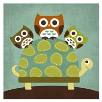 Three Owls on Turtle Fine-Art Print