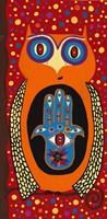 Owl With Evil Eye Hamsa Fine-Art Print