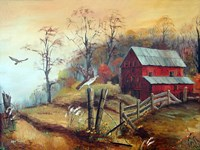 The Red Barn and The Hawk Fine-Art Print