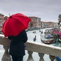 Red Umbrella in Venice Fine-Art Print