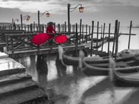 Gondolas BW & Red Fine-Art Print