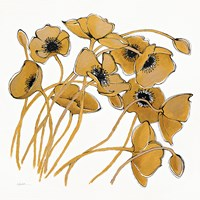 Gold Black Line Poppies II Fine-Art Print