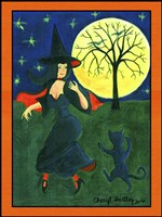 Halloween Witch Black Cat Moon Dance Fine-Art Print