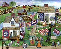Country Folk Art Quilt Tag Sale Fine-Art Print