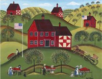 Primitive Americana Red Apple Barn Fine-Art Print