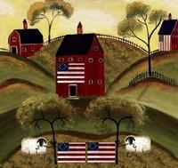 4th July Sheep Red Barns Fine-Art Print