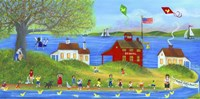 Rubber Dickie Race At Little Red School House Folk Art Fine-Art Print