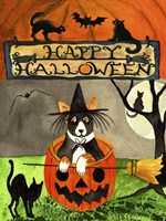 Happy Dog Pumpkin Halloween Fine-Art Print