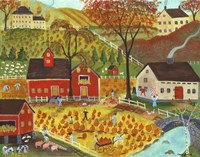 Country Farm Pumpkin Pickers Fine-Art Print