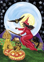 Red Witch Halloween Moon Fine-Art Print