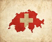 Map with Flag Overlay Switzerland Fine-Art Print