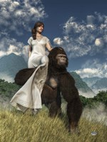 Ape And Girl Fine-Art Print