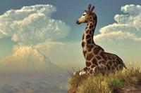 Giraffe And Distant Mountain Fine-Art Print