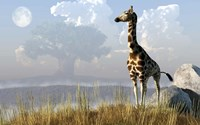 Giraffe And Giant Tree Fine-Art Print