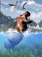 Lunging Hippo Fine-Art Print