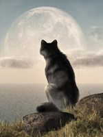 Wolf Watching The Moonrise Fine-Art Print