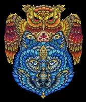 Animals Lovers - Owl & Wolf Fine-Art Print