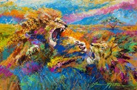 Pride Fight in the Savanna - African Lions Fine-Art Print