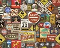 Road Signs on Brick Fine-Art Print
