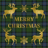 Merry Christmas Plaid - Gold & Green Fine-Art Print