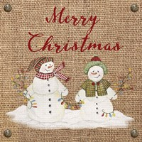 Christmas on Burlap- Merry Christmas 3 Fine-Art Print