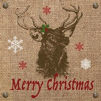 Christmas on Burlap - Merry Christmas 2 Fine-Art Print