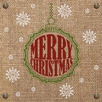 Christmas on Burlap - Merry Christmas 1 Fine-Art Print