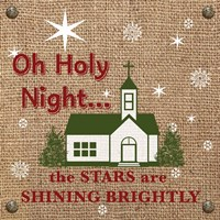Christmas on Burlap - Oh Holy Night Fine-Art Print