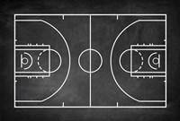 Basketball Court Chalkboard Background Fine-Art Print