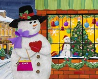 Snow Woman Window Shops Fine-Art Print