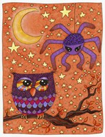 Halloween Owl And Spider Fine-Art Print