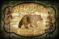 Welcome - Lodge Black Bear 1 Fine-Art Print