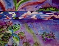 Sea Turtles In Northern Lights Fine-Art Print