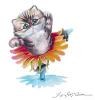 Kitten Ballerina Daisy Flower Dance Persian Cat Fine-Art Print