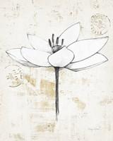 Pencil Floral I Gold Fine-Art Print