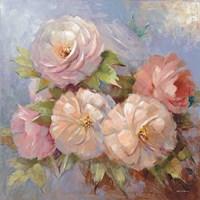 Roses on Blue III Crop Fine-Art Print
