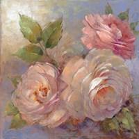 Roses on Blue II Crop Fine-Art Print