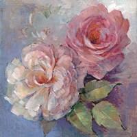 Roses on Blue I Crop Fine-Art Print