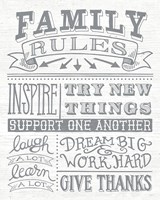 Family Rules II Gray Words Fine-Art Print