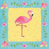 Flamingo Dance I Sq Border Fine-Art Print