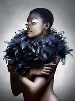 Woman with Feathered Scarf Fine-Art Print