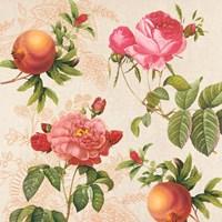 Pomegranates and Roses on Cream I Fine-Art Print