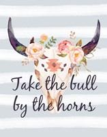 Bull Skull on Stripes III Fine-Art Print