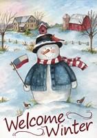 Snowman Farm Scene Welcome Winter Fine-Art Print