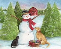Snowman Dog And Cat Farm Horizontal Fine-Art Print