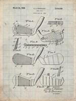 Golf Club Patent - Antique Grid Parchment Fine-Art Print