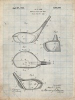 Metallic Golf Club Head Patent - Antique Grid Parchment Fine-Art Print