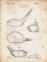 Metallic Golf Club Head Patent - Vintage Parchment Fine-Art Print