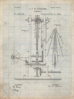 Windmill Patent - Antique Grid Parchment Fine-Art Print
