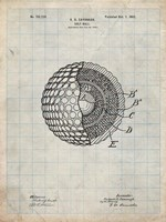 Golf Ball Patent - Antique Grid Parchment Fine-Art Print